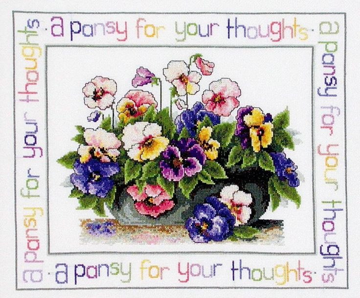 Pansy Thoughts - Cross Stitch Chart from Country Threads #Charts-from Interstitches on Ebay.