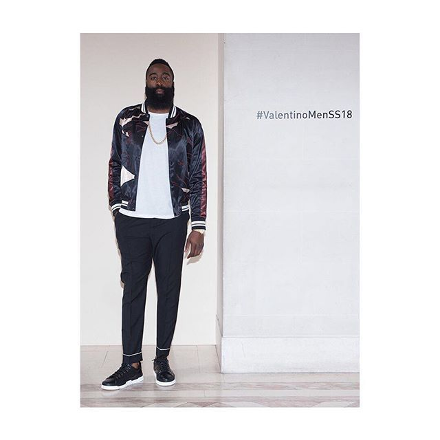 James Harden (@jharden13) from @HoustonRockets attended the #ValentinoMenSS18 Show wearing a #Panther Souvenir Jacket on a total look #Valentino. Watch again the full #VLTN #SS18 Collection on Valentino.com  via VALENTINO OFFICIAL INSTAGRAM - Celebrity  Fashion  Haute Couture  Advertising  Culture  Beauty  Editorial Photography  Magazine Covers  Supermodels  Runway Models