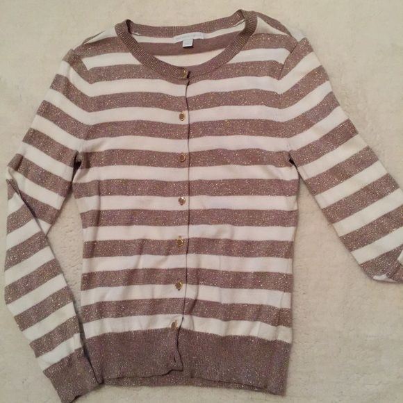 NY & Company striped white and gold cardigan M Medium striped white and gold with cute button detail size Medium New York & Company Sweaters Cardigans