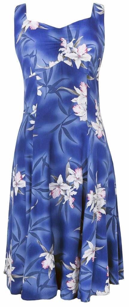 Midnight Orchid - Tropical Hawaiian Print Sun Dress - Blue (Rayon), Sun Dress - Tropical Hawaiian Dresses, 804R-Midnight-Orchid-Blue - Paradise Clothing Company