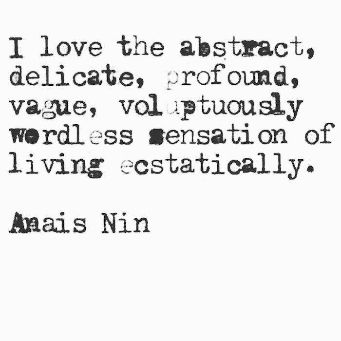 "I like that: ""living ecstatically"""