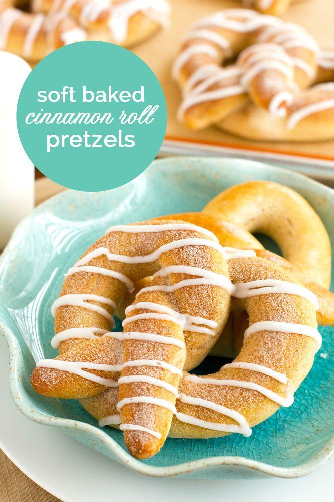Delicious Soft Baked Cinnamon Roll Pretzels recipe on { lilluna.com }