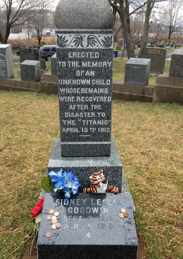 One of the more well-known Titanic markers is for an unidentified child victim, known for decades as The Unknown Child. No one claimed the body, so he was buried with funds provided by sailors of the CS Mackay-Bennett, the cable ship that recovered his body. The marker bears the inscription Erected to the memory of an unknown child whose remains were recovered after the disaster of the Titanic April 15th 1912. In November 2002, the child was initially identified as 13-month-old Eino Viljami