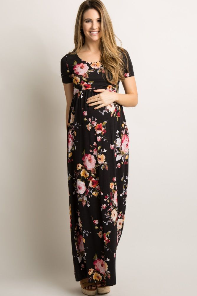 760d10a55e51c A floral print maternity maxi dress featuring a rounded neckline, short  sleeves and a cinched elastic waistline. Body is double lined to prevent  sheerness.