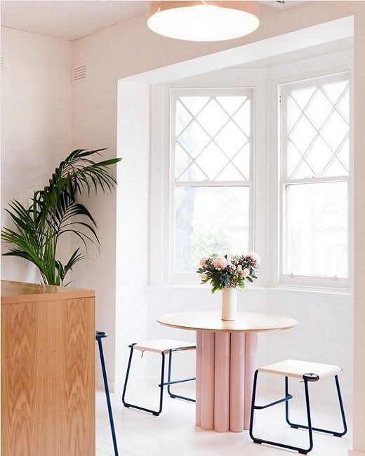 If you love the mood-lifting powers of pink but aren't sure where to use it, why not start where you start your day? Adding a pop of pink to your breakfast nook—in the unexpected form of a playful pedestal table, no less—is just the thing to help you begin your day on the right foot.