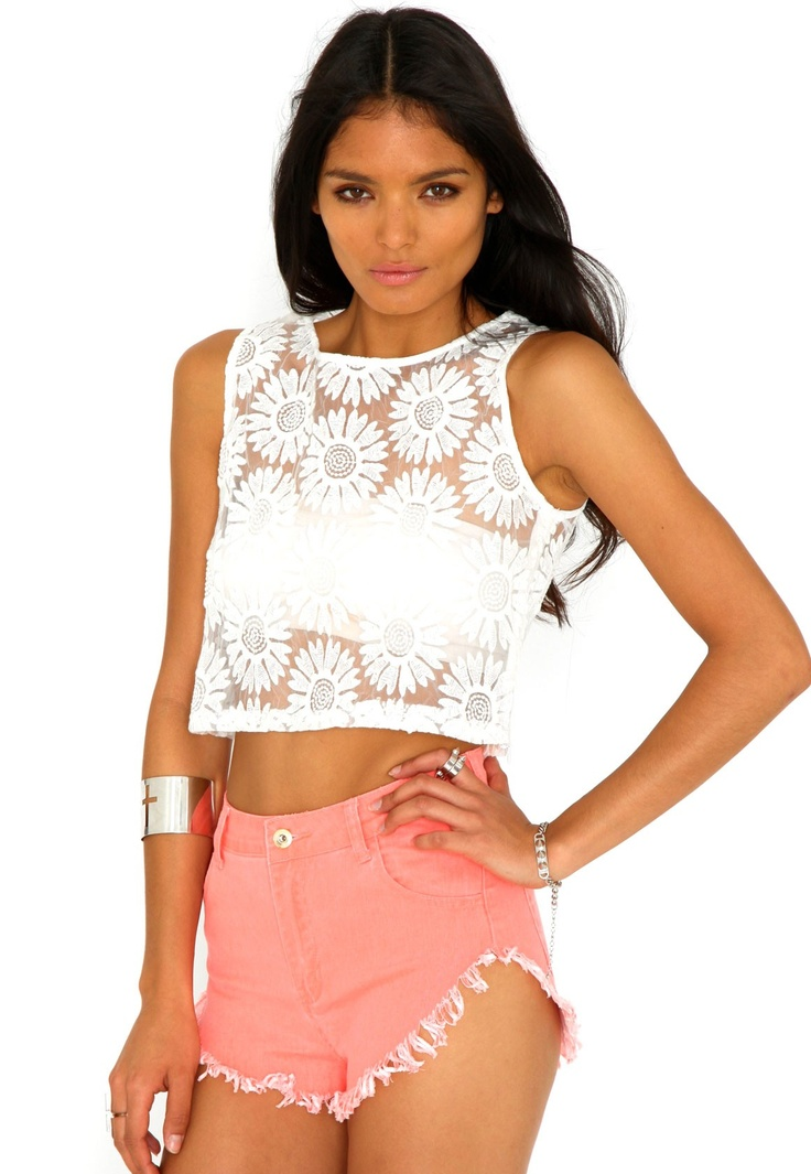 Solange Mesh Panel Floral Crop Top In Cream (bandeau top not included)