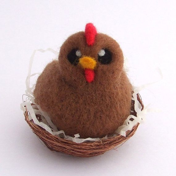 Needle Felted Chicken in Nest Brown Chicken
