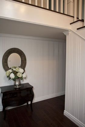 New England Style,Traditional, Classic Hallway and Stair Case Includes: Wood Bead Board, Crown Molding, Wood Floors, Wood Railing, Wood Stair Steps, Paint & Stained Railing and Steps
