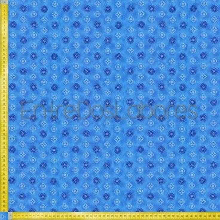 Tela de patchwork Fabry Quilt Mod. Budding beauties small medallion blue.