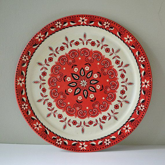 Vintage Swedish Folk Design Tray