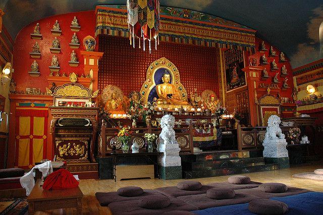 Beautiful Buddha, Sachen Kunga Nyingpo, White Tara, Padmasambhava, Sakya Pandita Statutes on the shrine, lama's throne, seats for meditators, 16 arhats, Vajrayogini, protector lions, Sakya Monastery of Tibetan Buddhism, Greenwood, Seattle, Washington, USA by Wonderlane, via Flickr