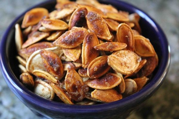 Sweet and salty caramelized pumpkin seeds. SO GOOD!