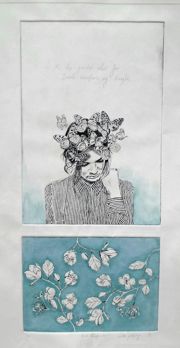 Drypoint etch with handcolouring. www.nicolettegeldenhuysart.co.za