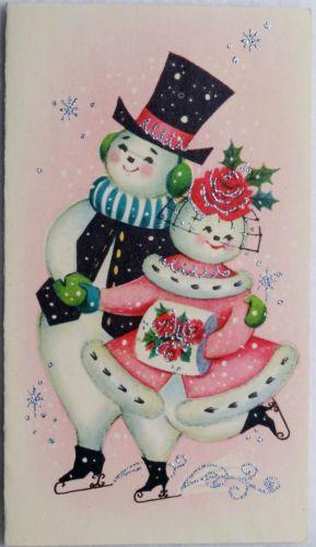 #376 50s Unused Glittered Ice Skating Snowman People-Vtg Christmas Greeting Card