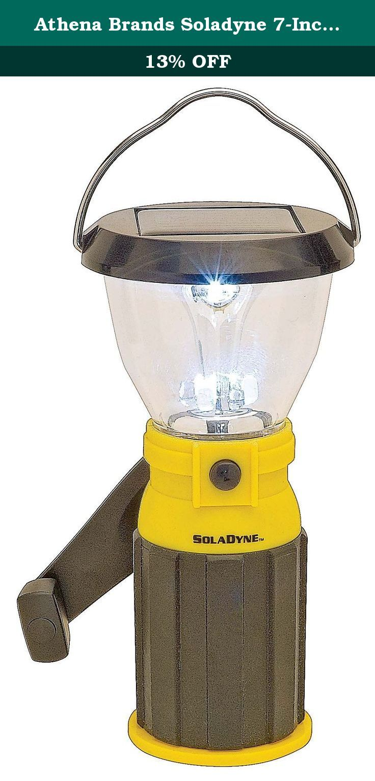 Athena Brands Soladyne 7-Inch Mini Solar Lantern. Mini Solar Lantern is a great personal sized solar/dynamo lantern that will hang inside a tent, on a string line or sit on the picnic table in the evening. No fuel or batteries are required. Powered by Solar Energy, Dynamo Hand Crank, 120V Wall charger or 12V Car Charger. Features high & Low light levels, cell phone charging, compact size and weight for easy storage and travel. Compact ambient lighting solution for camping, hunting, patio...