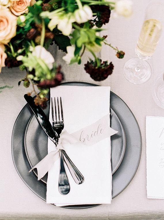 silverware - gold ribbon on black napkin? orr get gold plates with white napkins/gold ribbon?