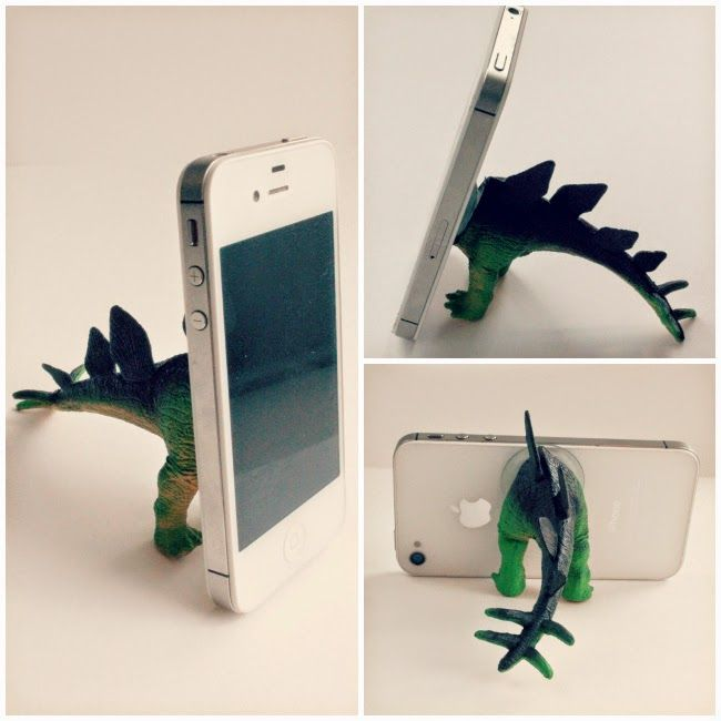 Repurpose: outgrown toys get a new grown-up use. Love this dino-butt phone tripod!