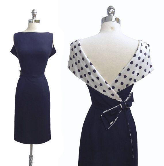 Vintage 1950s 1960s Polka Dot Plunging Back Navy Blue Rayon Crepe Cocktail Dress M