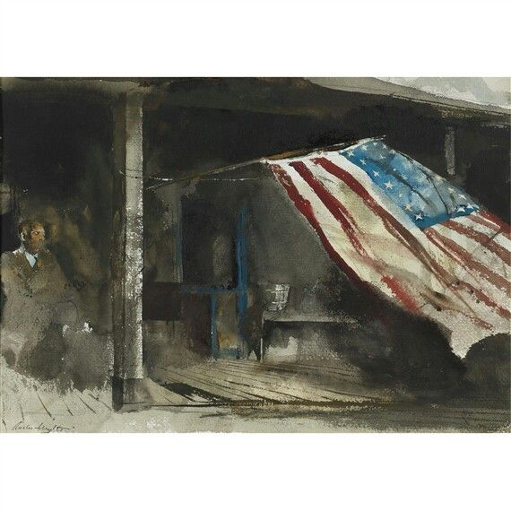 INDEPENDENCE DAY - By Andrew Wyeth Artwork Description Dimensions: 14 by 20 in. (alt: (35.6 by 50.8 cm)) Medium: watercolor on paper Creation Date: 1961