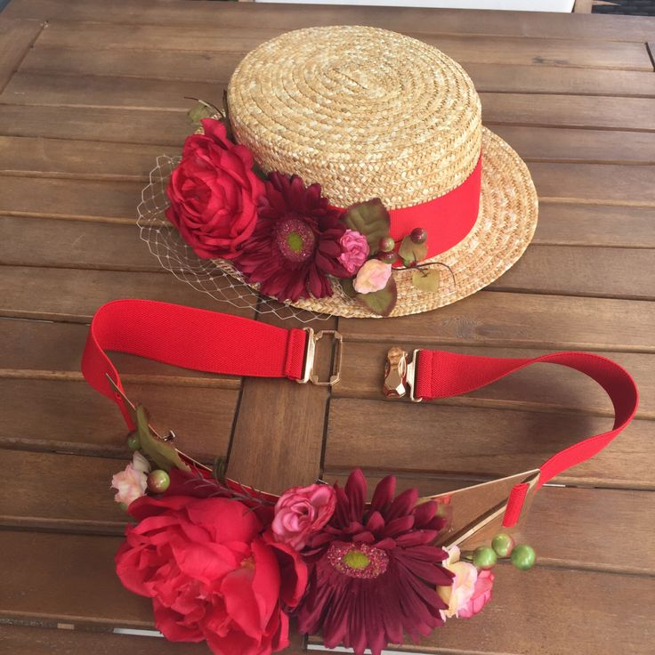 Un favorito personal de mi tienda Etsy https://www.etsy.com/es/listing/453719688/canotier-y-cinturon-color-rojo-con