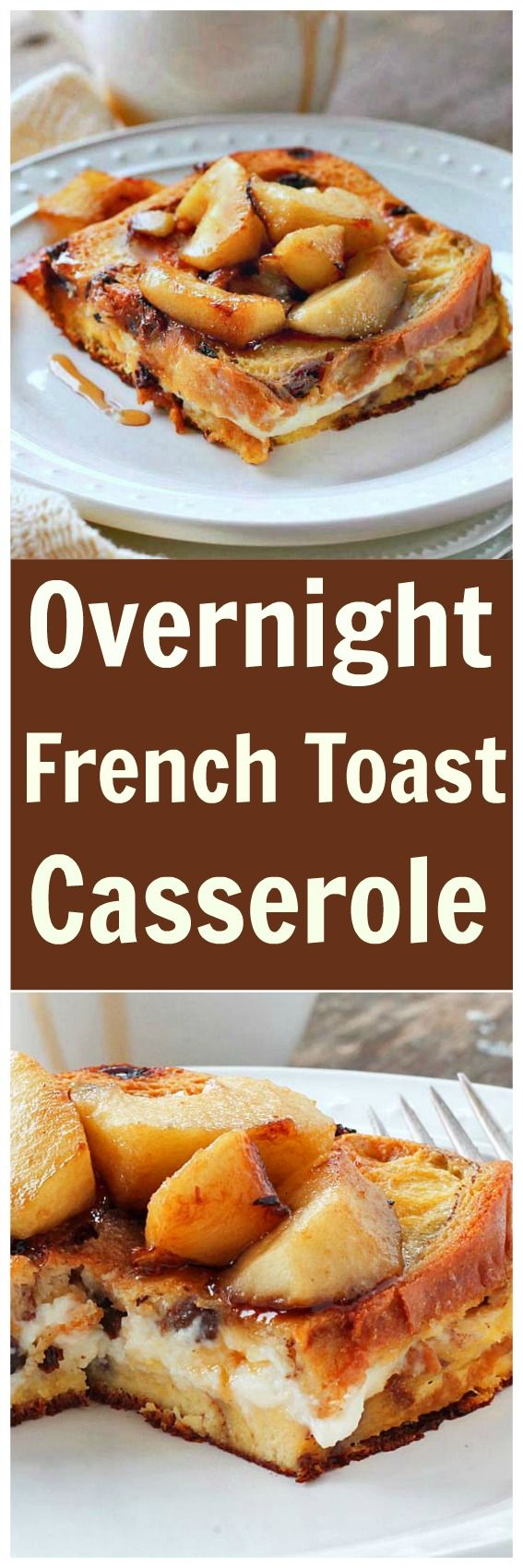 Overnight French Toast Casserole - The first bite of this casserole is amazing. Cinnamon, apples, raisins with a  LAYER OF CREAM CHEESE in the middle!