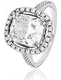 Anillo Twinkle con halo y diamantes en oro blanco de 18 K