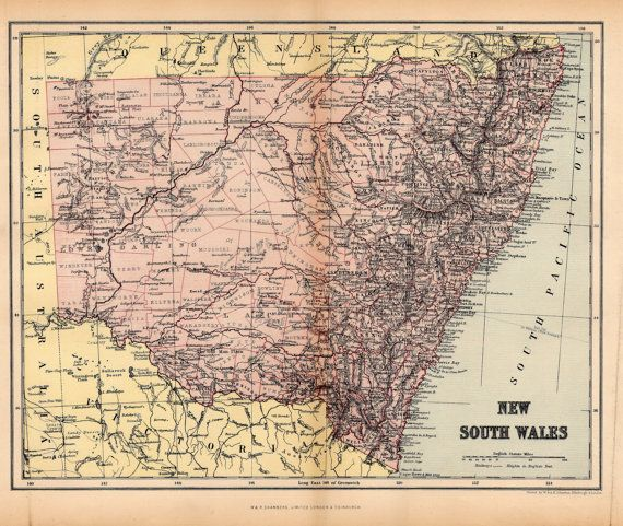 Antique Map of New South Wales - Original Vintage Australian Map from 1895