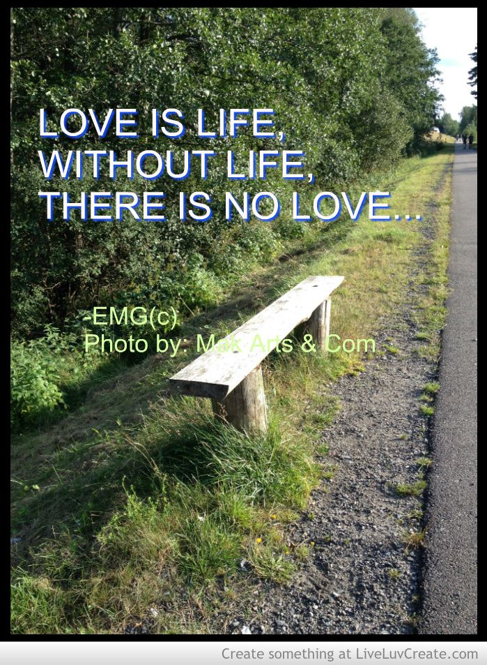 Love is life Without life there is no...  by: EMG <3