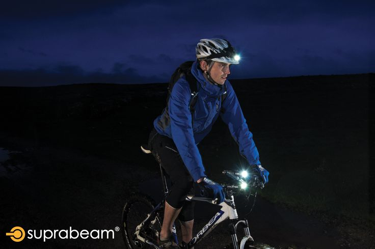 A mountain biker on a late night trip.