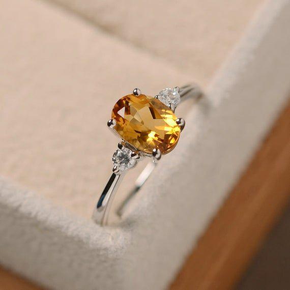 natural citrine ring yellow crystal rings pear cut engagement ring silver November birthstone