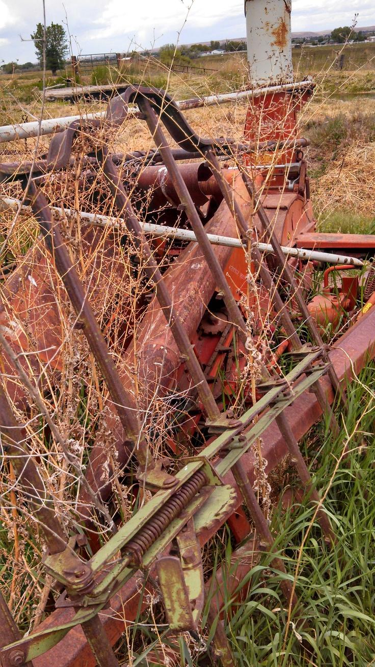 This is a closeup of an old corn harvester. Heath farm, Emmett, Idaho