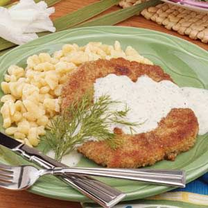 Tried this tonight. We love schnitzel for an easy dinner and this was a great recipe with dill sauce.