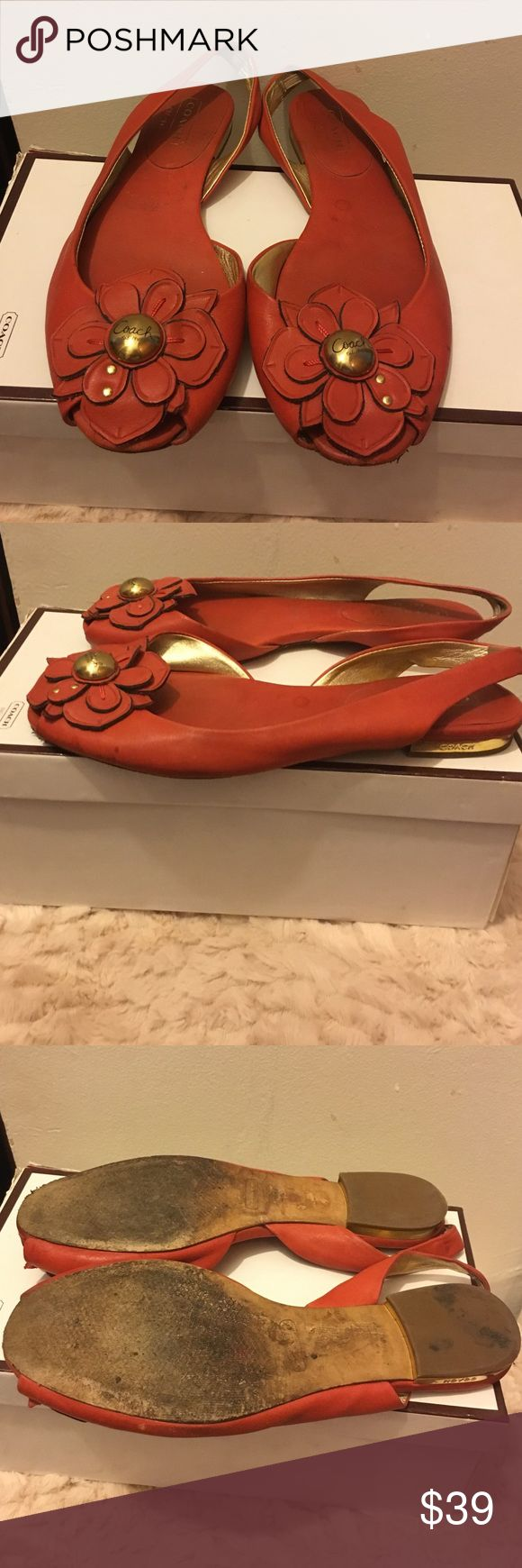 Beautiful coach flats Beautiful orange flower coach flats with gold bottom! Comes with box Coach Shoes Sandals