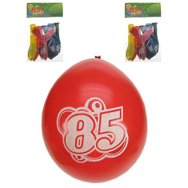 8 ballonnen met de tekst: 85 jaar. Formaat van de leeftijd ballonnen 85 jaar: 25 cm. Verschillende kleuren en geschikt voor helium.