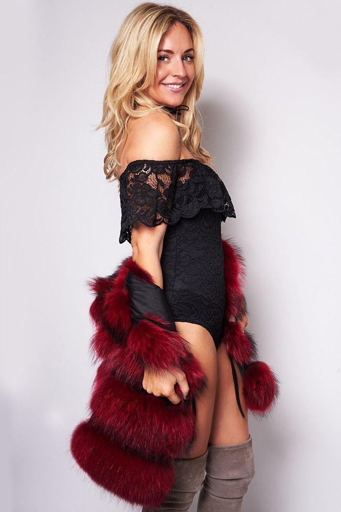 Lola Black Off-The-Shoulder Lace Bodysuit