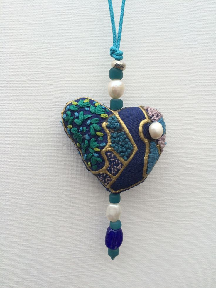 Silk heart pendant by Klektik