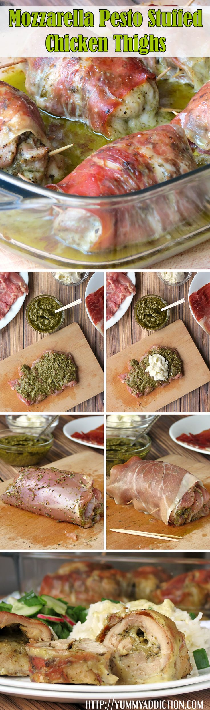 Prosciutto-Wrapped Mozzarella Pesto Stuffed Chicken Thighs | YummyAddiction.com