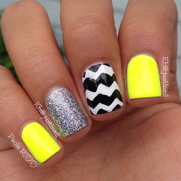 Summer nails. Neon, chevron, & sparkly!   Not crazy about the yellow ... but maybe pink or coral!