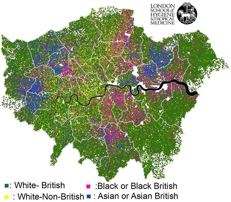 This map showing London's ethnic diversity.   18 Beautiful And Weird Maps That Will Change How You Think About London