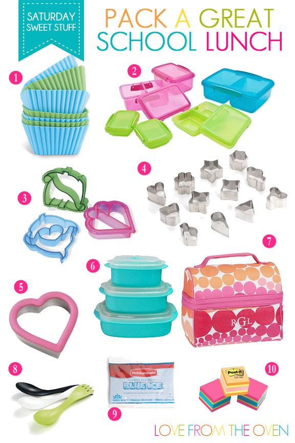 Lunch Box Supplies And Tools To Pack A Great School Lunch. From containers, to ice packs to cutters, to sporks! Totally makes lunch packing easier. And more fun!