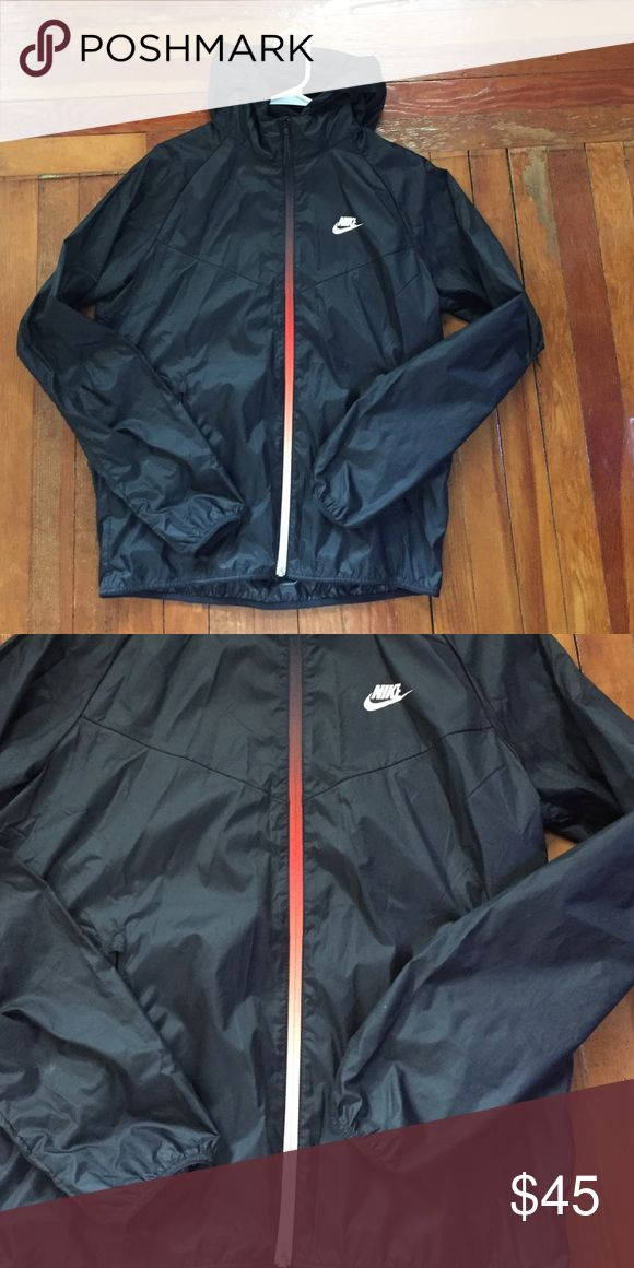 Nike windrunner Black nike windrunner with zipper that fades from white to red to black Nike Jackets & Coats Windbreakers