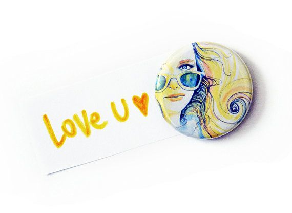 Girl with sunglasses round magnet by FunkyFancyAnimals on Etsy, €3.00
