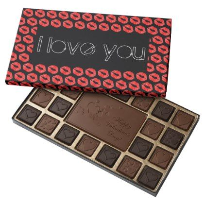 Red Lips I Love You 45 Piece Box Of Chocolates - kitchen gifts diy ideas decor special unique individual customized