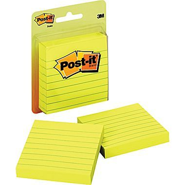 """Post-it® Notes, 3"""" x 3"""", Canary Yellow, Lined, 2/Pack"""