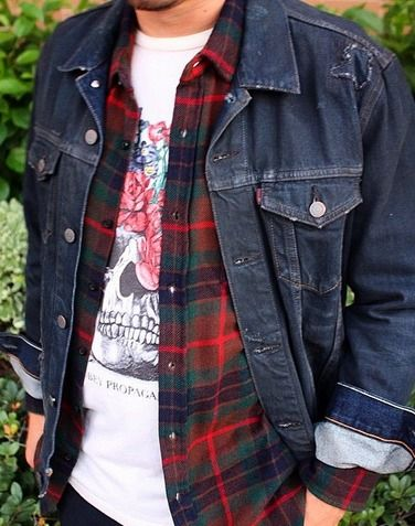 Men's fall fashion | Flannel shirt + tee + denim jacket.