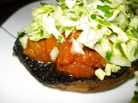 Feasting on Fitness: A Dinner in the Zone: Hearty Paleo-Zone Chili on Roasted Portobello Mushroom Caps with Crunchy Slaw