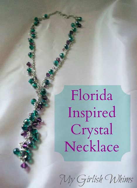Florida Inspired Crystal Neckalce DIY by My Girlish Whims. Made with supplies from @Cousin Corporation!