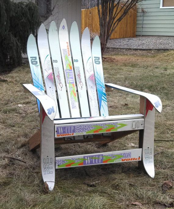RadIrondak, An Upcycled Ski Patio Chair, Comes With Or W/out A Footrest And  Is A Perfect Add To Your Ski Chalet, Patio Or Deck By UpCyD