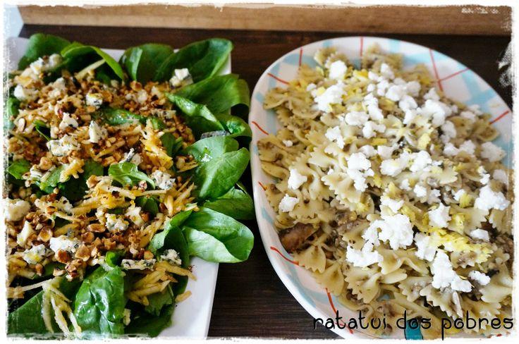 ratatui dos pobres: Farfalle de cogumelos com salada de queijo azul, avelã e maçã