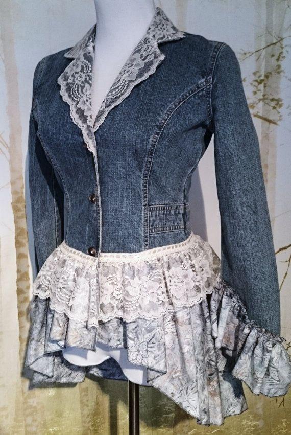 Refashioned Upcycled Denim Jacket size S by MiaBellaOriginalBags